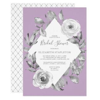 Amethyst Gray Floral Diamond Bridal Shower Card