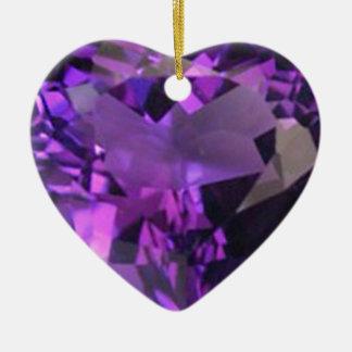 Amethyst Heart Ceramic Heart Ornament