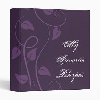 Amethyst Leafy Swirl Recipe Book Binder