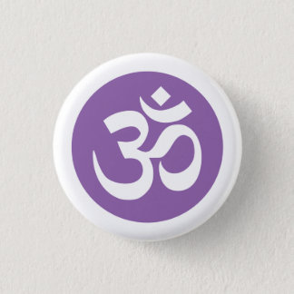 Amethyst Orchid and White Om Symbol Badge 1 Inch Round Button