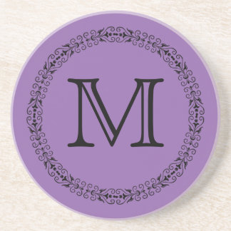 Amethyst Orchid Pale Purple Solid Color Monogram Coaster