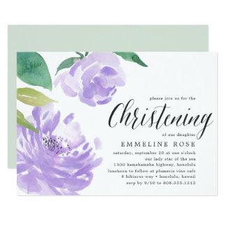 Amethyst Peony | Christening Invitation