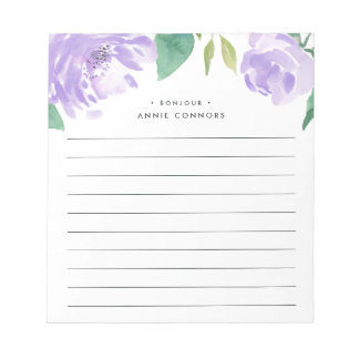 Amethyst Peony | Personalized Lined Notepad