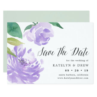 Amethyst Peony Save the Date Card