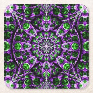 Amethyst Portal Mandala Square Paper Coaster