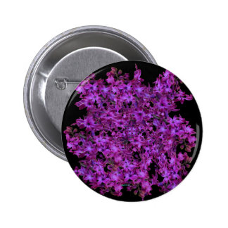 Amethyst Purple Abstract Hyacinth Black Floral 2 Inch Round Button