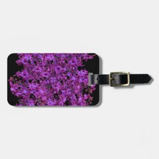 Amethyst Purple Abstract Hyacinth Black Floral Bag Tag