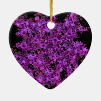 Amethyst Purple Abstract Hyacinth Black Floral Ceramic Heart Ornament