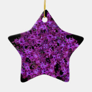 Amethyst Purple Abstract Hyacinth Black Floral Ceramic Star Ornament