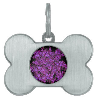 Amethyst Purple Abstract Hyacinth Black Floral Pet Tag