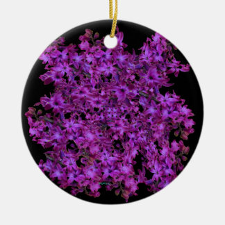 Amethyst Purple Abstract Hyacinth Black Floral Round Ceramic Ornament