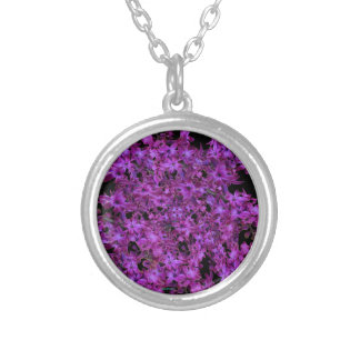 Amethyst Purple Abstract Hyacinth Black Floral Silver Plated Necklace