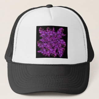 Amethyst Purple Abstract Hyacinth Black Floral Trucker Hat