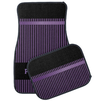 Amethyst Purple and Black Stripes | Personalize Car Floor Carpet