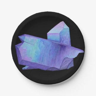 Amethyst purple crystal angel aura quartz geode paper plate