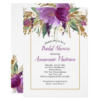 Amethyst Purple Gold Glitter Floral Bridal Shower Card