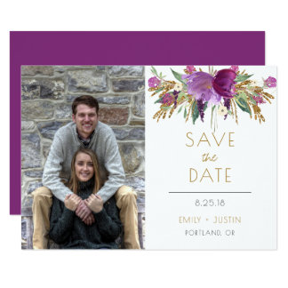 Amethyst Purple Gold Glitter Photo Save The Date | Card
