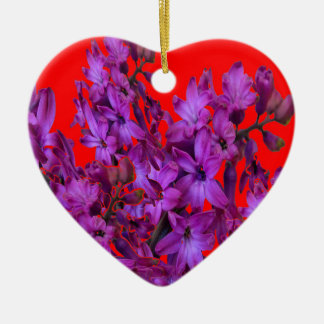 Amethyst Purple  Hyacinth RED Floral gift Ceramic Heart Ornament