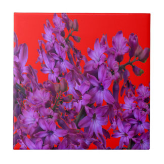 Amethyst Purple  Hyacinth RED Floral gift Ceramic Tile