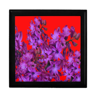 Amethyst Purple  Hyacinth RED Floral gift Jewelry Box