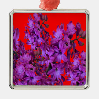Amethyst Purple  Hyacinth RED Floral gift Silver-Colored Square Ornament
