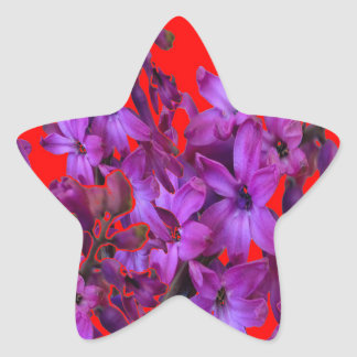 Amethyst Purple  Hyacinth RED Floral gift Star Sticker