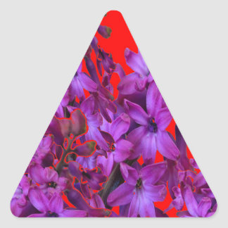 Amethyst Purple  Hyacinth RED Floral gift Triangle Sticker