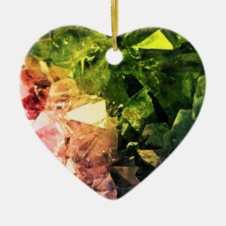 Amethyst Rainbow Ceramic Heart Ornament