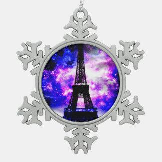 Amethyst Rose Parisian Dreams Snowflake Pewter Christmas Ornament