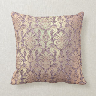 Amethyst Salmon Rose Gold Metallic Damask Glitter Throw Pillow