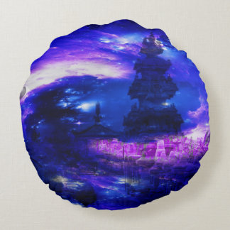 Amethyst Sapphire Bali Dreams Round Pillow
