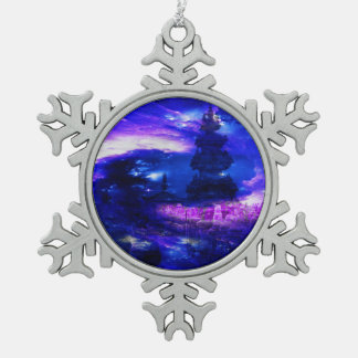 Amethyst Sapphire Bali Dreams Snowflake Pewter Christmas Ornament