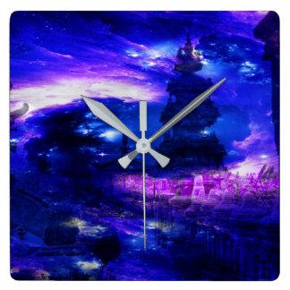 Amethyst Sapphire Bali Dreams Square Wall Clock