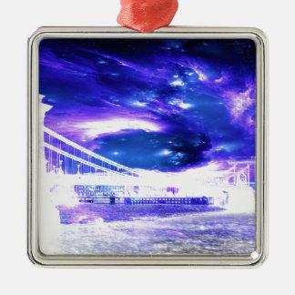 Amethyst Sapphire Budapest Dreams Silver-Colored Square Ornament