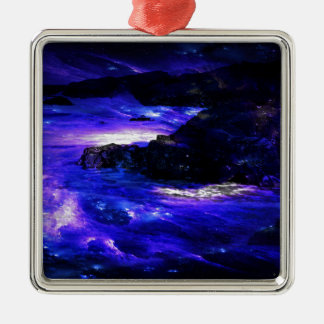 Amethyst Sapphire Indian Dreams Silver-Colored Square Ornament
