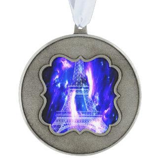Amethyst Sapphire Paris Dreams Scalloped Pewter Ornament