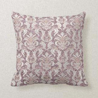 Amethyst Silver Gray Pearl Metallic Damask Glitter Throw Pillow