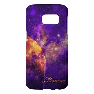 Amethyst Sky,Golden Planet n Nebula Galaxy S7 Samsung Galaxy S7 Case