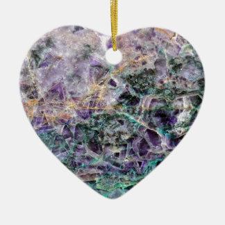 amethyst stone texture ceramic heart ornament
