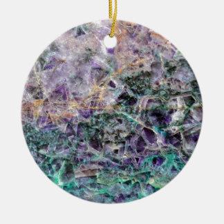 amethyst stone texture round ceramic ornament