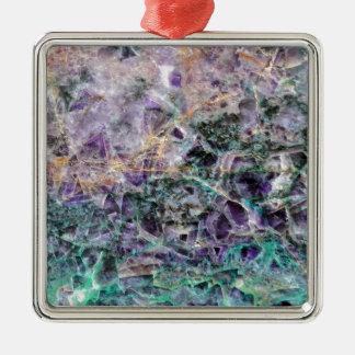 amethyst stone texture Silver-Colored square ornament