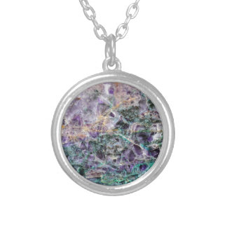 amethyst stone texture silver plated necklace