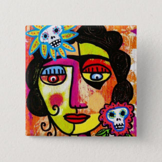 Amethyst Sugar Sull Frida by SilberZweigArts 2 Inch Square Button