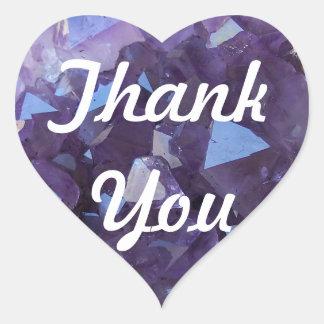 Amethyst Thank You Heart Sticker