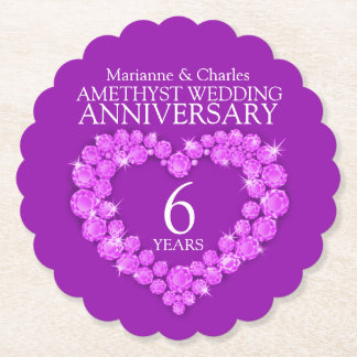 Amethyst wedding 6th anniversary heart coasters