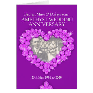 Amethyst wedding anniversary parents photo card
