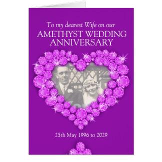 Amethyst wedding anniversary wife photo card