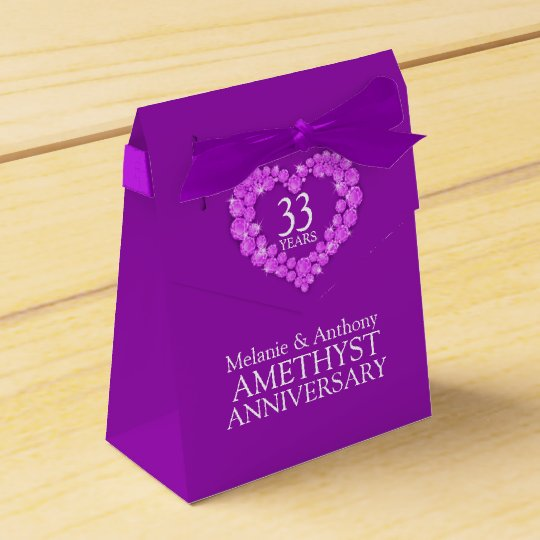 Amethyst wedding heart 33 years gift box party favor box