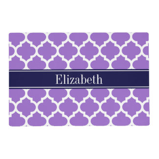 Amethyst Wht Moroccan #5 Navy Blue Name Monogram Laminated Place Mat
