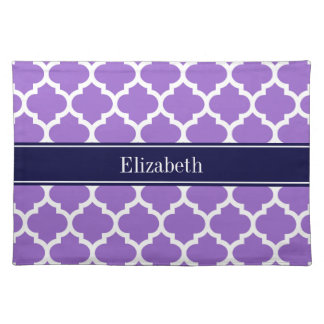 Amethyst Wht Moroccan #5 Navy Blue Name Monogram Placemat